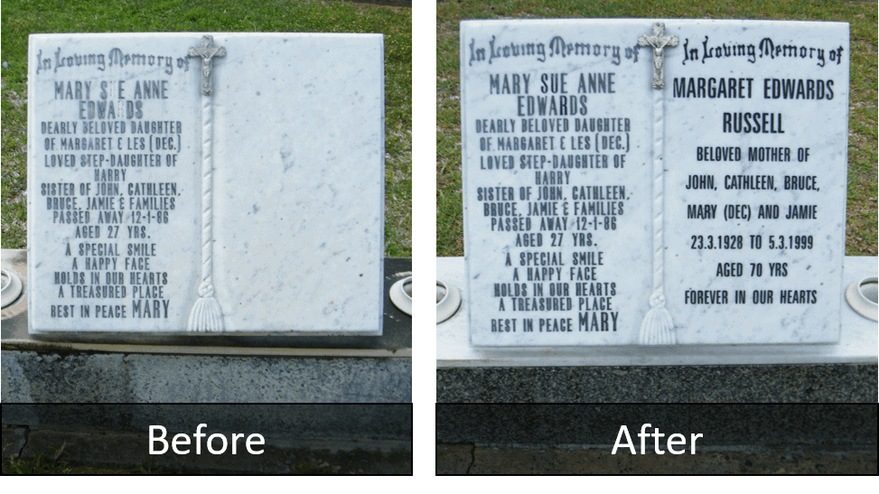 Fremantle Monumental Centre - Headstones - Additionals - Before &After